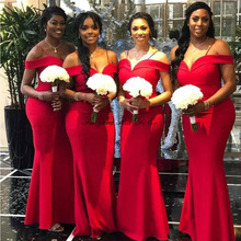 Red Long Mermaid Bridesmaid Dresses 2020 Cheap Off The Shoul