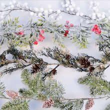 Artificial-Flower Wreath Mistletoe Christmas Ilex New-Year-Decor Snow-Ball Pine-Branch