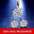 Нимфа синтетический бриллиант набор серьги подвеска ожерелье 1.0ct D/IJ Цвет 925 стерлингового серебра ювелирные украшения вечерние подарок