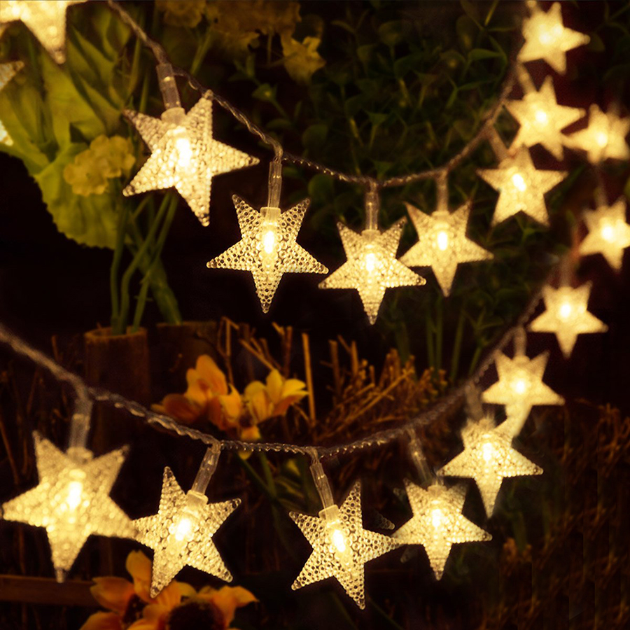Thrisdar LED Chrismas Star Fairy String Light 6M 10M 20M 30M Outdoor Garden Backyard Wedding Party Festoon Star Garland Light