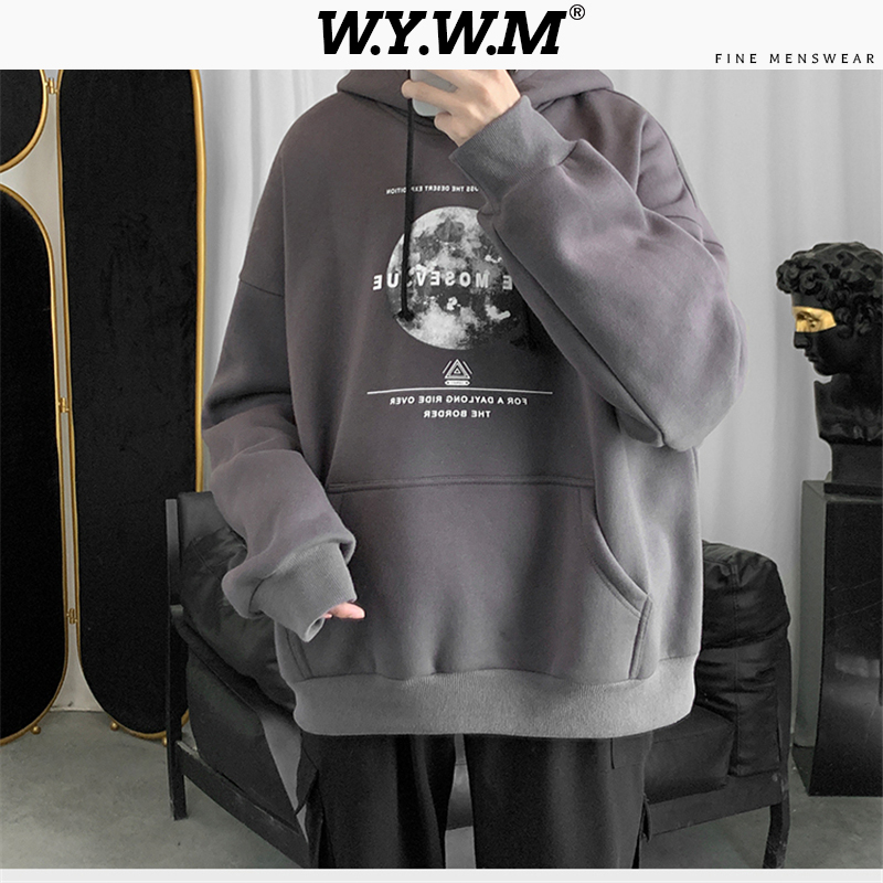 WYWM Men 2020 Spring Loose Hooded Sweatshirts Mens Harajuku Letter Fashion Hoodies Male Oversized Plus Size New Streetwear Tops