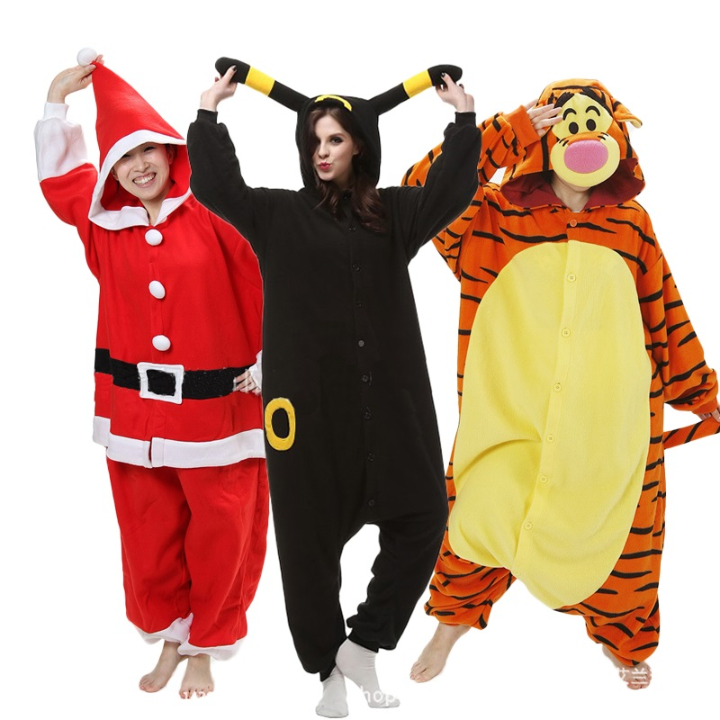 High Quality Polar Fleece Adults Animal Pajamas Panda Tiger Womens Sleep Onesie Cosplay Winter Pijama Onesies Pyjamas