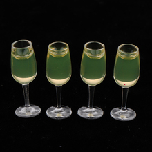 4 Pieces Mini Wine Glass Mug Dishes for 1/12 Dollhouse Decoration Accessories