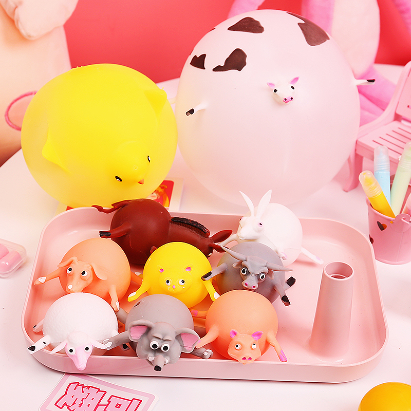 Creative Soft Rubber Inflatable Ball Can Blow Small Animals Venting Decompression Toy Hippo Chick Pinch Toy Pop Ball Spoof Gift
