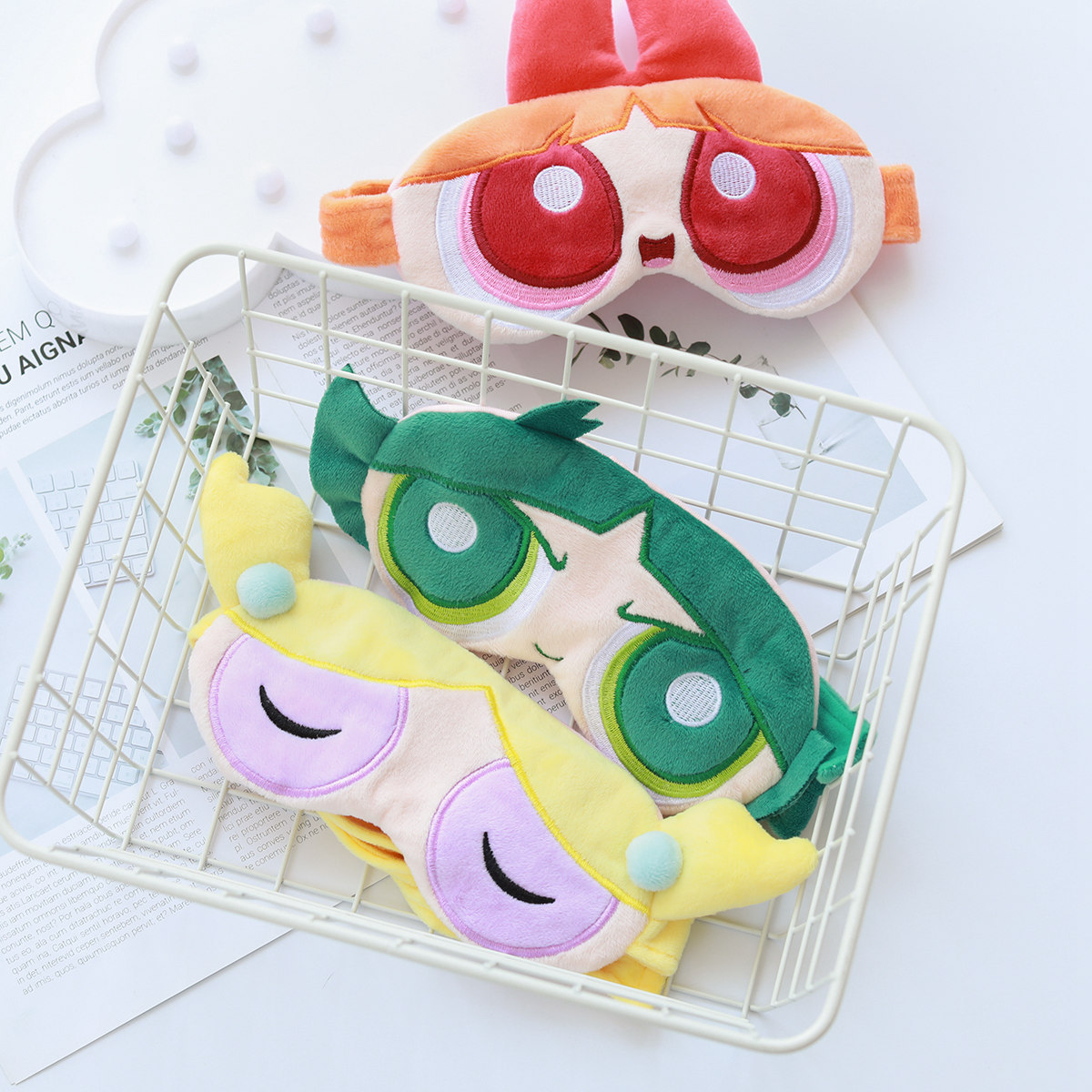 Cartoon The Powerpuff Girls Cute Eyeshade Travel Eyeshade Siesta Hu Yan Zhen