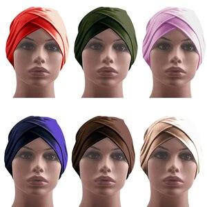 Image 2 - Indian Women Hijab Turban Hat Head Scarf Hair Loss Cover Cancer Chemo Cap Muslim Islamic Beanie Bonnet Stretch Headwear Hat Caps