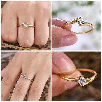 Fashion 14K Gold Round Cut 1ct White Sapphire Diamond For Unisex Jewelry Personality Engagement Solitaire Wedding Gift Ring R0H7 image