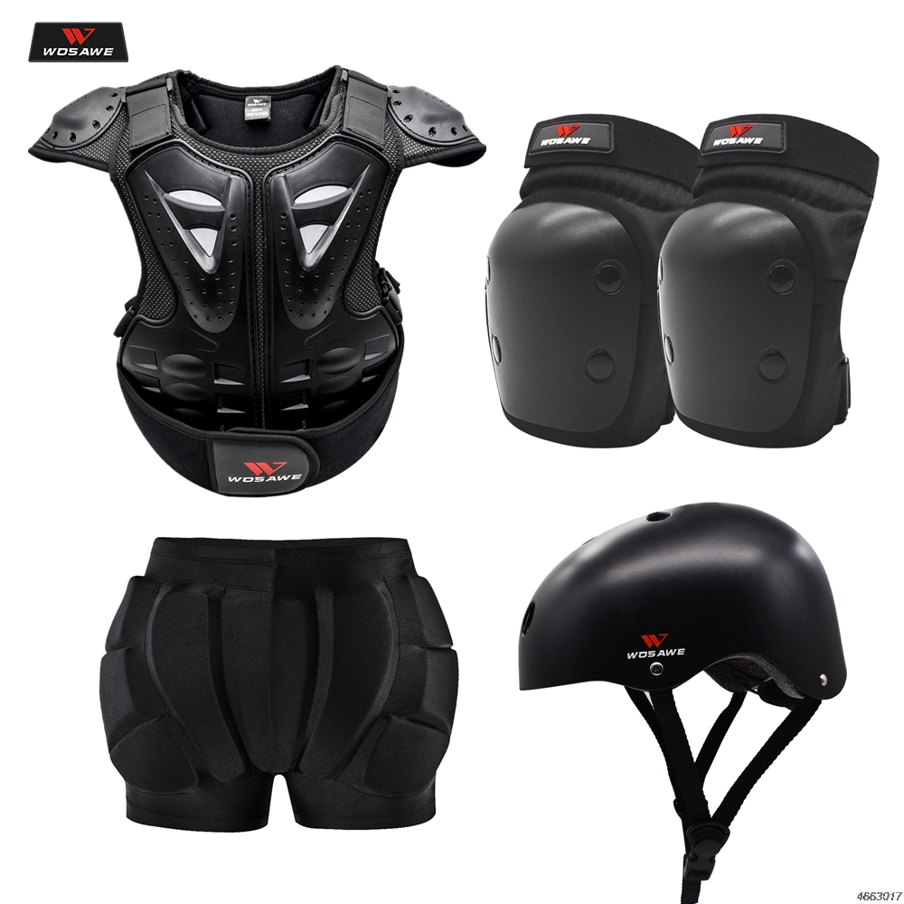 WOSAWE Motorcycle Armor Jacket Motocross Armor Vest Body Chest Shoulder Back Gear Protective Hip Protector For Children Kids
