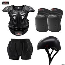 WOSAWE Motorcycle Armor Jacket Motocross Vest Body Chest Shoulder Back Gear Protective Hip Protector for Children Kids