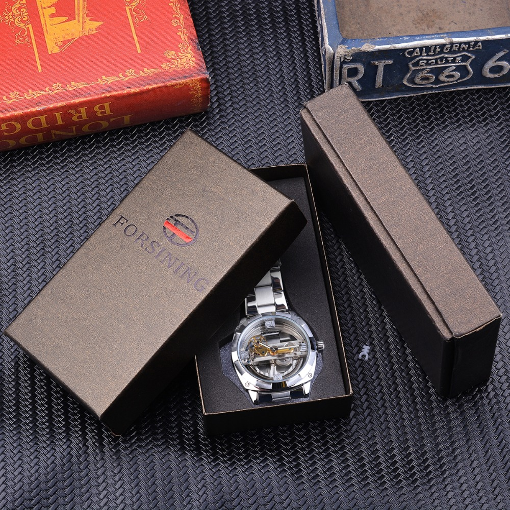 Forsining Men Transparent Design Mechanical Watch Automatic Silver Square Golden Gear Skeleton Stainless Steel Belts Clock Saati