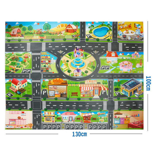 Heca69be4a2ff4a65a8ba8be9da7478a9I 130*100CM Large City Traffic Car Park Play Mat Waterproof Non-woven Kids Car Playmat Toys for Children's Mat Boy Car