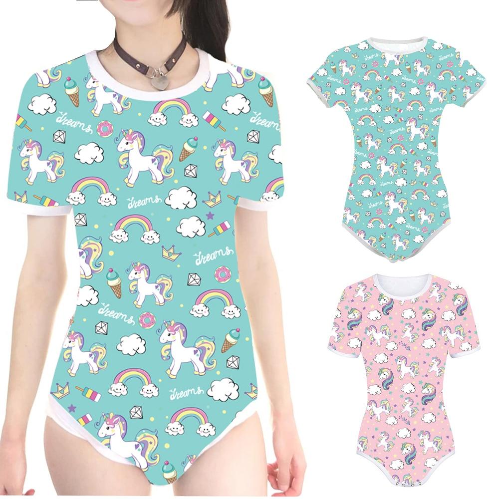 Adult Baby Diaper Lover(ABDL) Snap Crotch Little Unicorn Onesie Romper