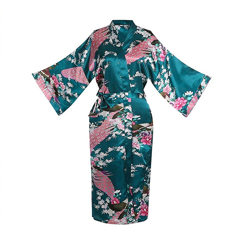 Print Peacock Half Sleeve Wedding Robe For Ladies Sexy Lingerie Women Robe Loose Lounge Softy Sleepwear Sleeve Kimono Bath Gown