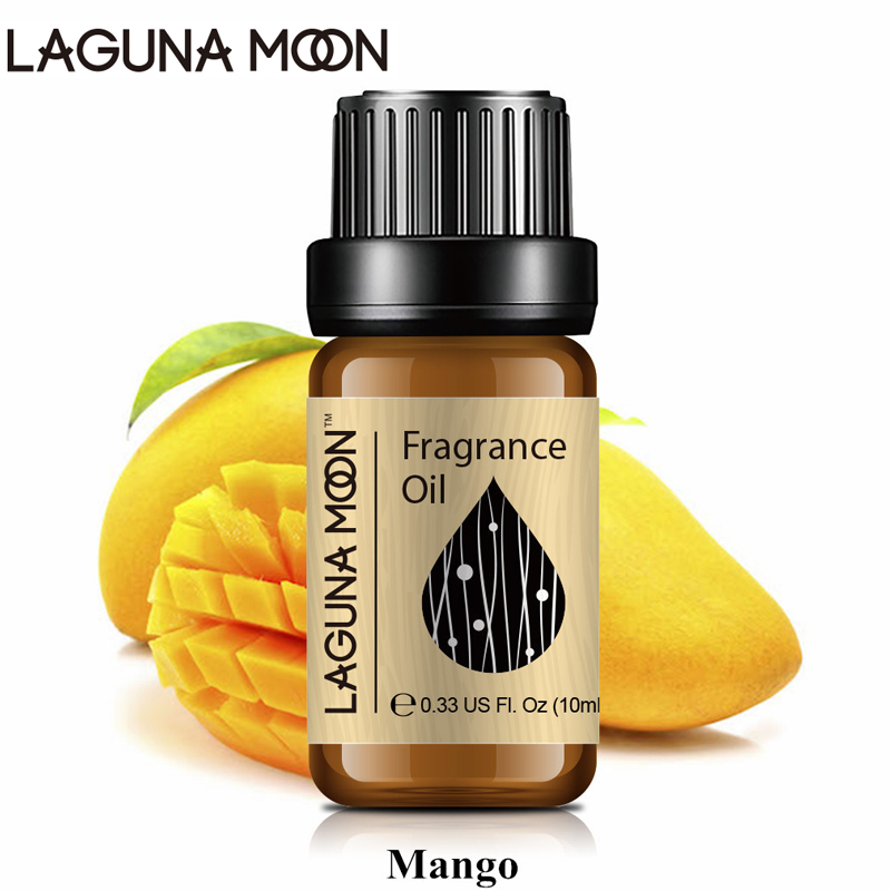 Lagunamoon 10ml Mango Fragrance Oil Fresh Linen Baby Powder Bubble Gum Strawberry White Musk Natural Plant Oil