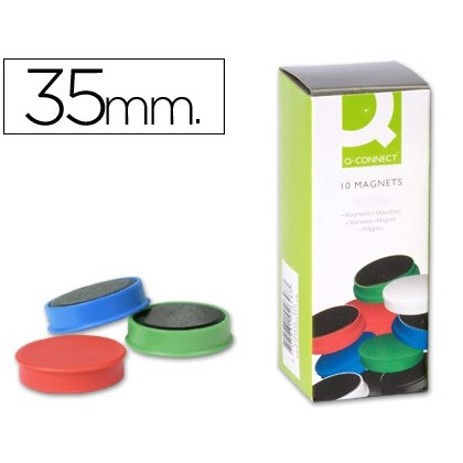 MAGNETS FOR CLIP STRIP Q-CONNECT IDEAL FOR Slates MAGNETICAS35 MM COLORS ASSORTED-10 'S BOX MAGNETS