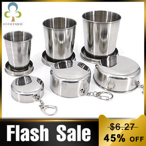 All Stainless Steel Folding Cup Portable For Outdoor Travel Retractable Telescopic Collapsible Cups With Keychain GYH
