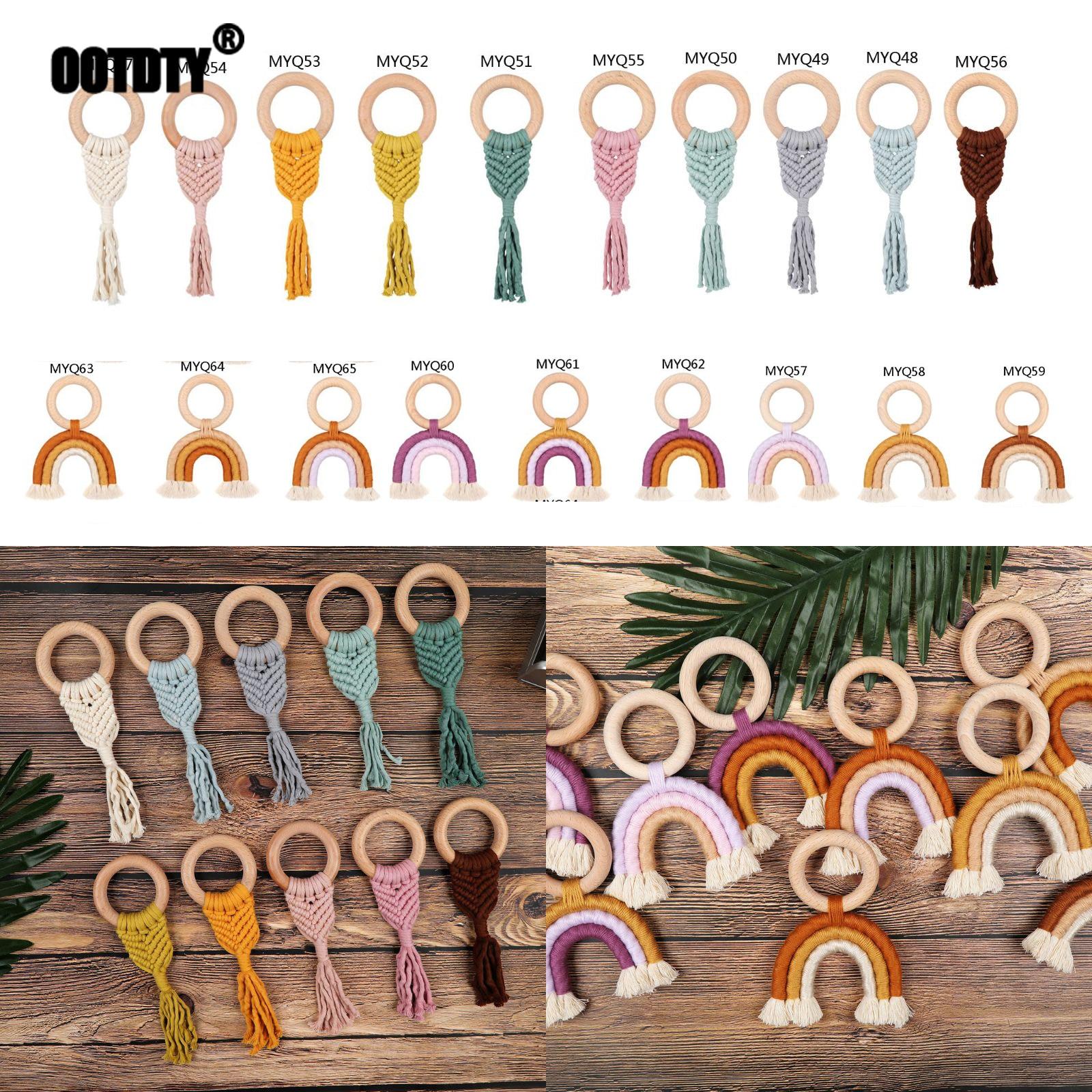 Rainbow Teething Toys Safe Organic Wooden Ring Baby Wood Teether Nursing Toys