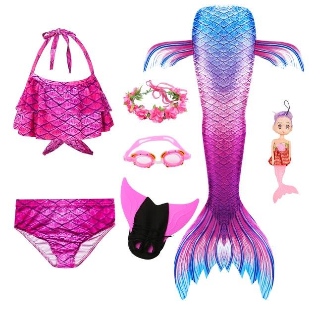 Queue de sirène pour filles, Costume de sirène nageuse avec aileron, guirlande de lunettes et poupée sirène pour enfants, nouvelle collection, à la mode