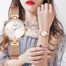 DOM montre à Quartz pour femmes, montre bracelet de luxe minimaliste, étanche, en acier doré, tendance décontracté