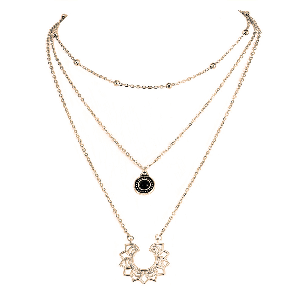 Party Wear Fashion Women Necklace Dating Dressing Accessory Alloy Plating 3 Layers Bohemian Style Long Chain  Pendant
