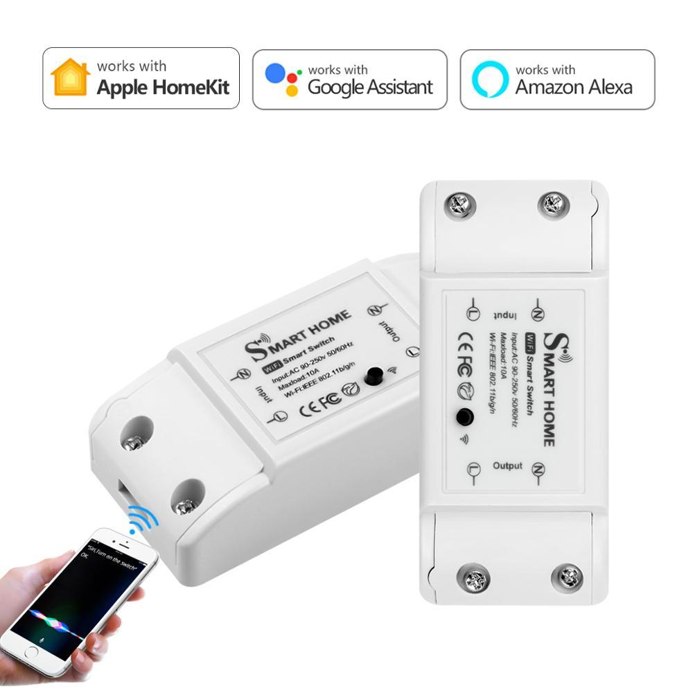 Смарт-релейный выключатель Apple Homekit/Tuya, беспроводной пульт дистанционного управления с поддержкой Wi-Fi, работает с Homekit, Amazon Alexa, Google Home, IFTTT