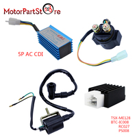 New Performance ATV Quad Motorcycle Parts for 50cc 70 90 110cc 125cc Racing CDI Ignition Coil Regulator Rectifier Solenoid Relay