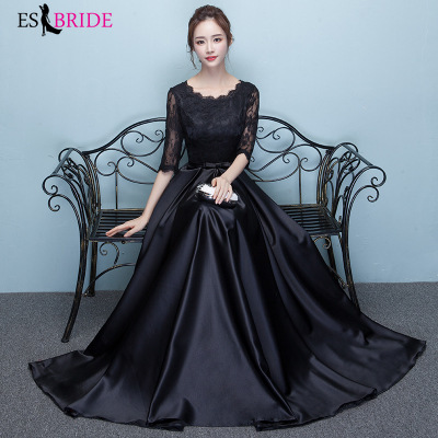 Robe De Soiree Black Sexy A-line Short Sleeve Chiffon Lace Teal Evening Dresses Long 2019 Elegant Wedding Guest Gowns ES1292