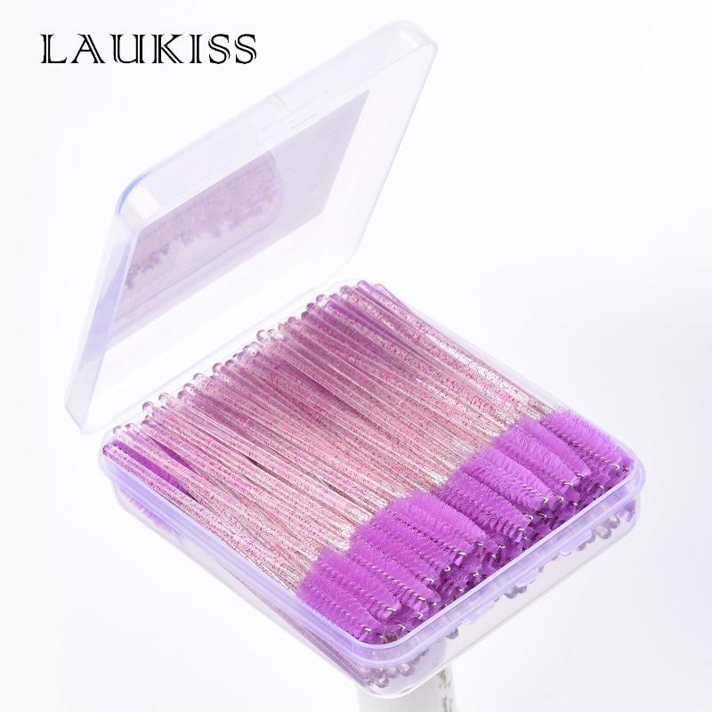 Eyelash Brushes With Storage Box 100pcs/case Disposable Mascara Wand Eyebrow Brush Applicator Spoolers Eyelashes Brushes Makeup