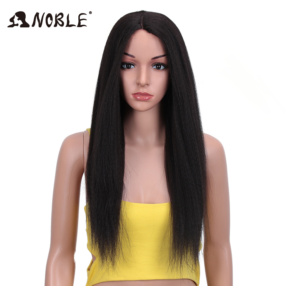 Noble Synthetic Lace Front Wig Long Kinky Straight 28 Inch Wigs For Black Women 0mbre Wig Lace Front Synthetic Wigs