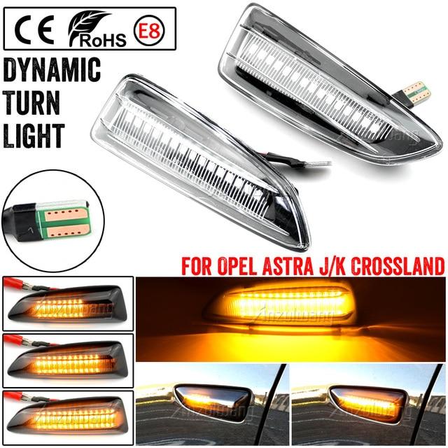 2PCS Dynamic LED Side Marker Lights 12V Flowing Turn Signal Light Side Repeater Lamp Panel Lamp for Opel for Vauxhall Astra J K