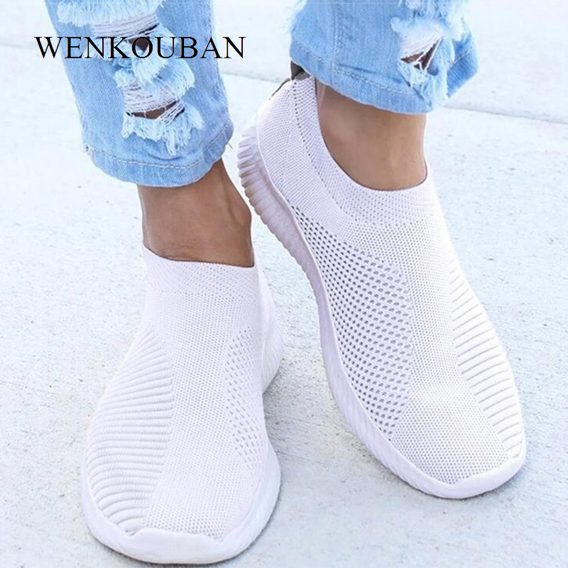 Women Shoes Knitting Sock Sneakers Women Spring Summer Slip On Flat Shoes Women Plus Size Loafers Flats Walking Krasovki Famela