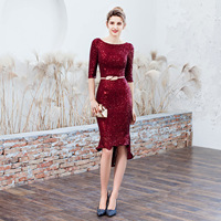 Round collar Mermaid Evening Dresses half sleeve sequins evening Dress Party Slim fit evening Gown elegant Formal Dress
