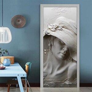 Наклейка на дверь, обои, водостойкие самоклеящиеся росписи 3D, серые, художественные настенные росписи, современные наклейки на двери и стен...