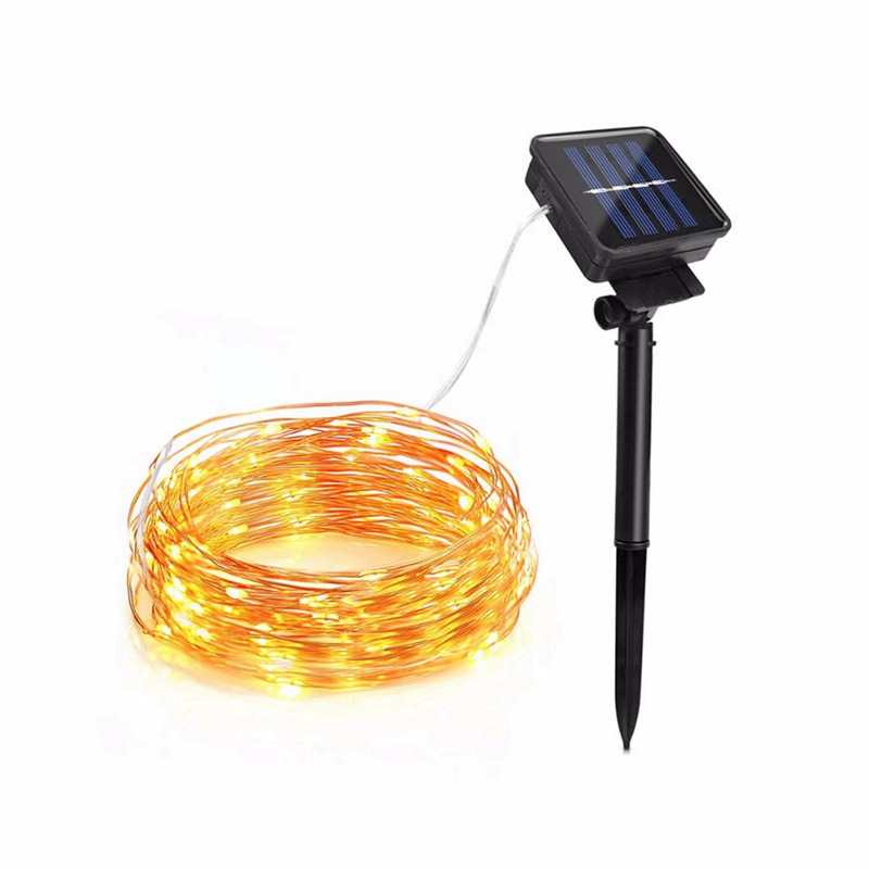 Solar LED Lawn Lamp Outdoor Waterproof Copper Wire Fairy String Light For Garden Xmas Living Tree Decoration Auto OFF/ON