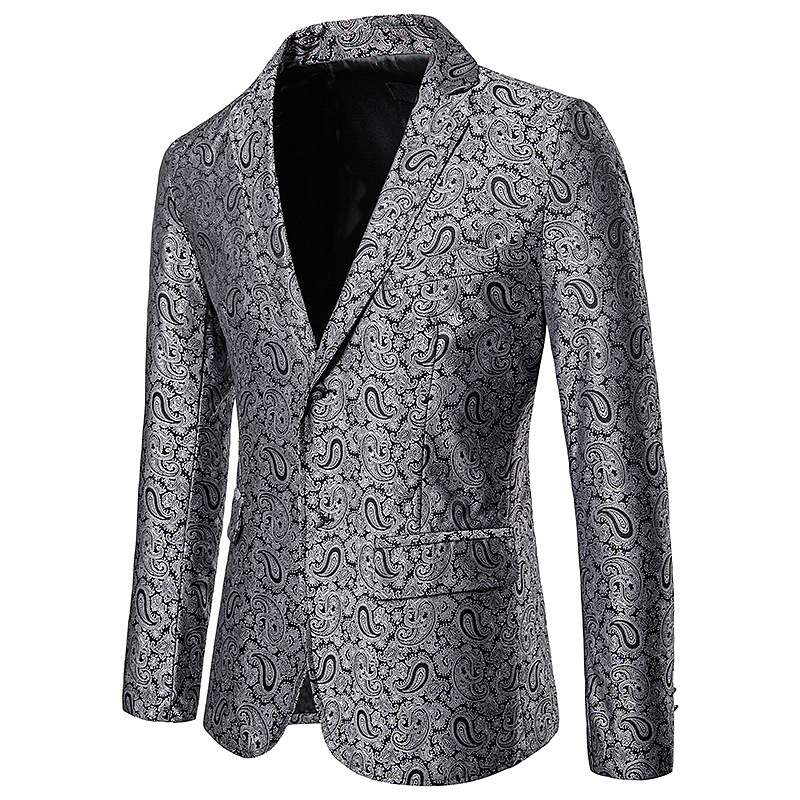 Blazer Jacket Coat Business-Dress Casual-Suit Slim-Fit Stage Printed Floral Fashion New