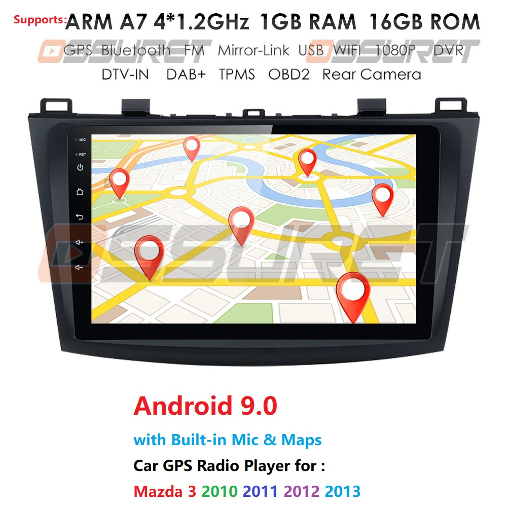 for MAZDA 3 2009 2010 2011 2012 Android 9.0 9 Inch Rom 16GB Car GPS Navigation Radio Multimedia Player support TPMS 3G