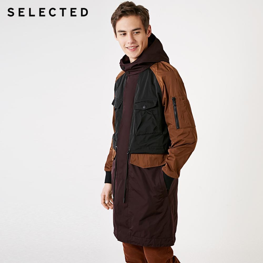 SELECTED Men's Contrasting Windbreaker Long Jacket Outwear Hooded Outwear Mid-length Trench Coat C | 4191OM523