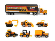 1:64 7pcs/set Construction vehicle Excavator Bulldozer Road roller Dump Container truck car Alloy toy collection model kids gift