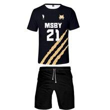 Tshirt Msby Jackals Shorts-Set 3d-Printing 2piece-Set Men Casual Hiphop Haikyuu Beah