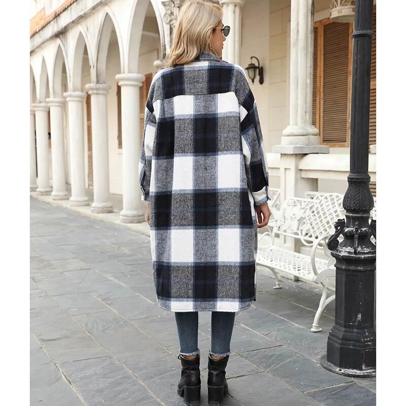 Купить gypsylady длинная клетчатая куртка пальто винтажное шерстяное