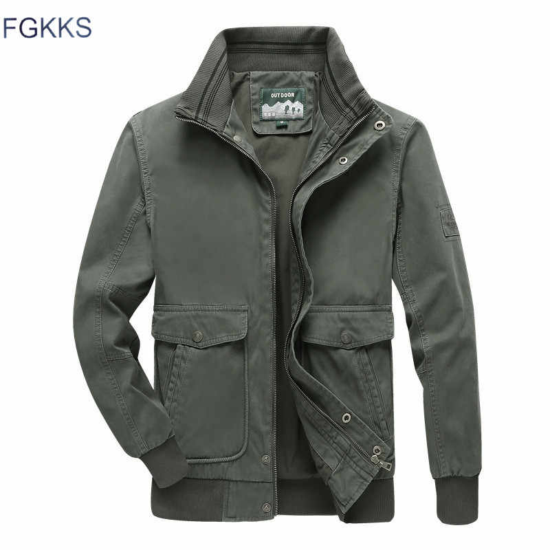 FGKKS Men Jackets Autumn Winter New Men's Military Style Jackets Casual Coat Fashion Brand Stand Collar Jacket Male