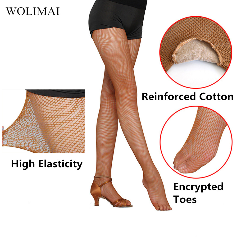 Professional Latin Dance Fishnets Toe Socks Net With Crotch Latin Dance Clothing Accessories Caramel Stockings Ballet Adult