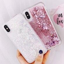 Rosa Liebe Herz Glitter Pailletten Telefon Fall Für Samsung Galaxy A51 A71 A81 S20 Note10 A50 A70 A40 A20 A30 flüssigkeit Treibsand Fall