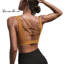 FlowerDance Yoga Bra Sports Crop Top Woman Brassiere Femme Push Up Cotton Stuffed Gym Sexy V Collar Back Cross Hollow