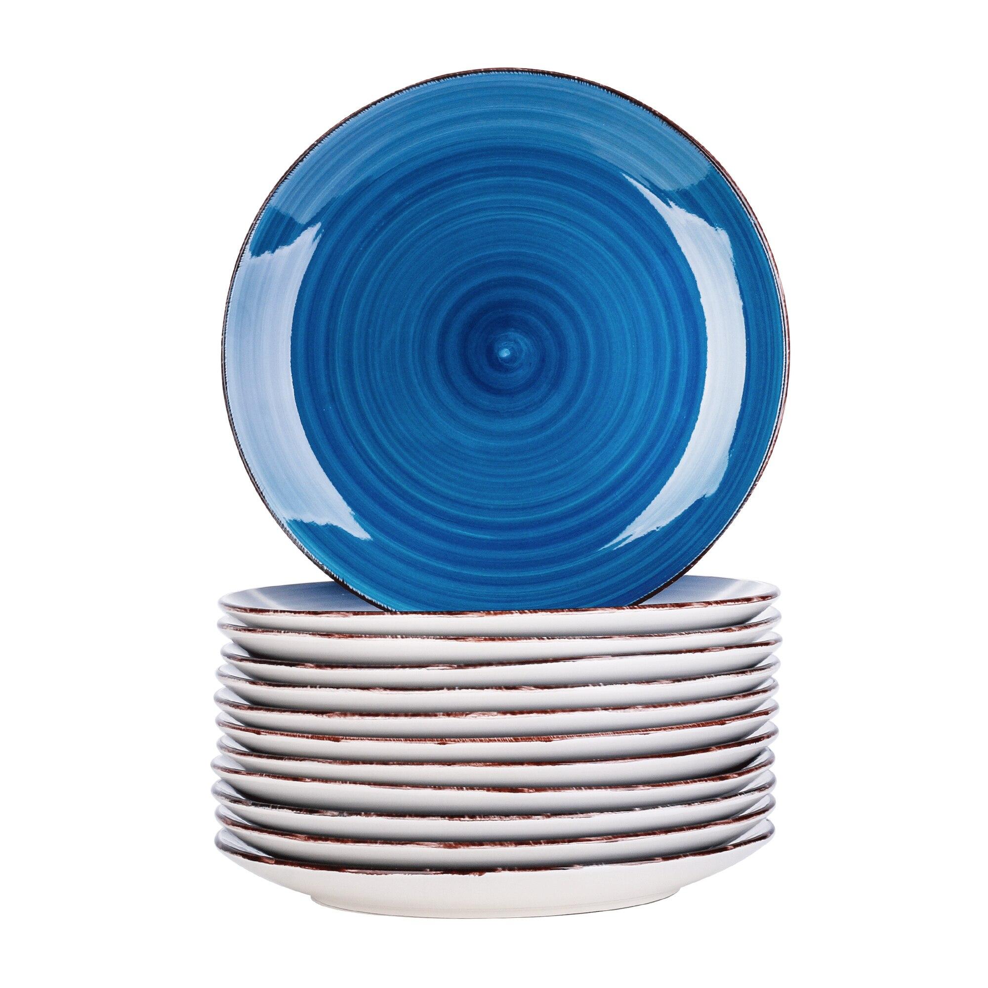Vancasso Bella 4/8/12-pieces Porcelain Ceramic Handpainted Dinner Plate Set Dinner/Salad/Fruit/Snack Plate Set(27* 27 * 2.8cm)