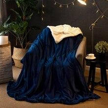Утолщенное двустороннее одеяло для дома и офиса, Фланелевое кашемировое теплое одеяло для дивана, кровати, путешествий, портативное холодостойкое одеяло