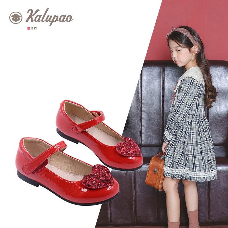 Kalupao/детская обувь; модные кожаные детские сандалии; обувь принцессы; Милая блестящая Праздничная обувь для детей; обувь для девочек; цвет ро