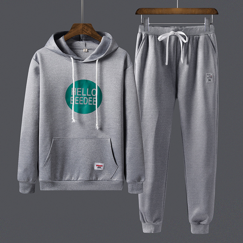 2018 Autumn Casual MEN'S Casual Pants Long Sleeve Pullover Printed Letter Hoodie Sports Set Men's 8867