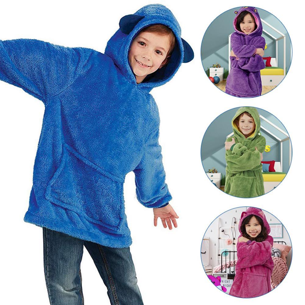 New 4 Styles Soft Children's Blanket Sweatshirt Pet Shaped Wearable Hoodie Nightdress Oversized Sweatshirt Winter Home Service
