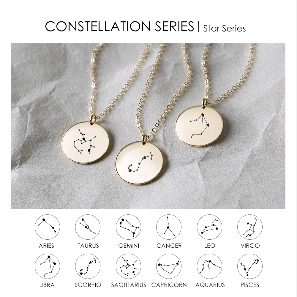 eManco Engrave Constellation Pendant Necklace women Simple Gold color 316L Stainless Steel Necklaces Best Friend Jewelry